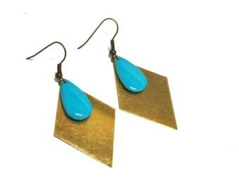Brass blue enamel drop earrings