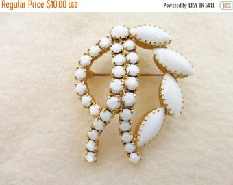 Half off White milk glass and gold tone brooch AA55