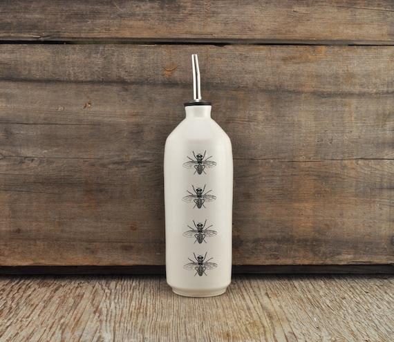 Porcelain oil/vinegar bottle with vintage INSECT prints