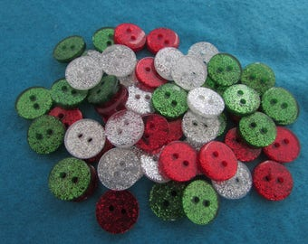 Round Glitter Buttons in Christmas Colours