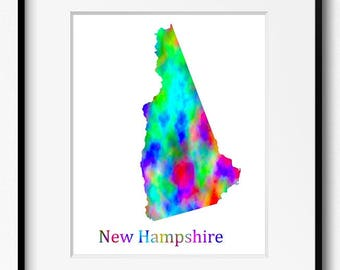 New Hampshire State Map Watercolor Art Print (090)