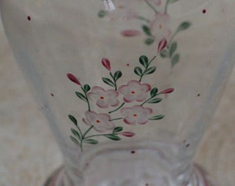 PINK GLASS VASE, hand painted flowers, Vintage glass vase.