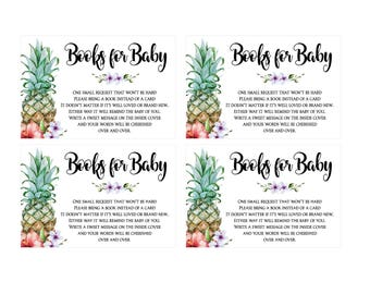 Books for Baby Cards - Pineapple Tropical Luau Baby Shower - DIY Printable