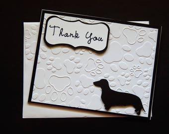 Dachshund Thank You Card Greeting Card Dog Card Thank You Pet Card Embossed Dog Card Pet Cards Pet Sitting Thank You Card Animal Card