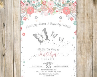 FLORAL BUTTERFLY BIRTHDAY Invitation, Blush Pink Teal Silver Butterflies Invite, Girl 6th Birthday, Rustic Enchanted Butterfly Garden Party