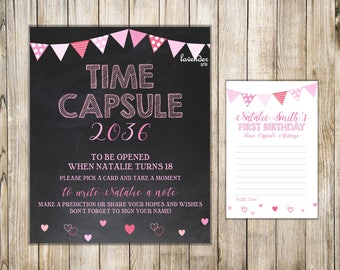 VALENTINE First Birthday TIME CAPSULE, Time Capsule Sign & Card, Valentine 1st Birthday Time Capsule, Baby Time Capsule, Birthday Wishes