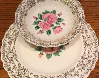 """Vintage Sebring Pottery Co. China Bouquet 22K Gold Trim 5"""" Sauce or berry Bowl and 7"""" Dessert or Bread Plate Made in the USA 1940's-1950's"""