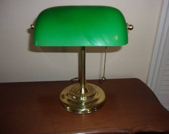 Vintage Bankers Lamp with green glass shade