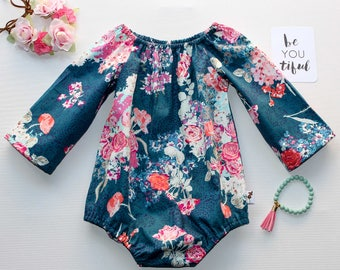 Navy and Pink Pastel Roses Baby Girls Long Sleeve Romper / Onesie / Playsuit and matching headband