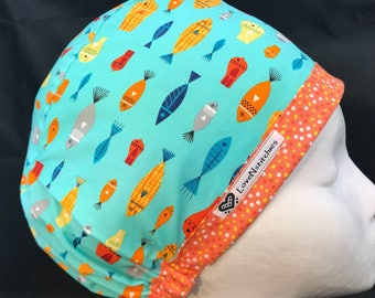 Fishies Surgical Cap scrub Hat Nurse Euro Medical Caps OR Womens Women Scrub Tech Hats Surgery CRNA LoveNstitchies Bright Aqua Orange