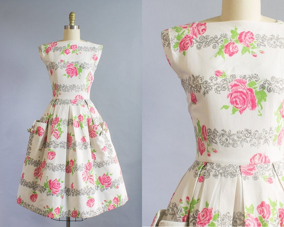 1950s Pink Rose Print Cotton Pique Dress/ Small (36B/25W)