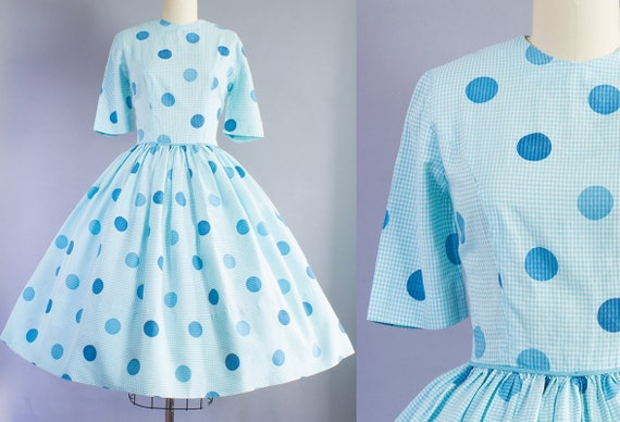 1950s Gingham and Polka Dot Cotton Dress | Small (36B/26W)
