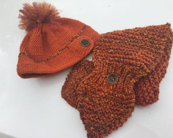 Terracotta-Wild Fire - Dark Orange - Other Color- Key Hole with Button Knitted Women's Scarf and /or Beanie with button