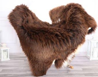 Sheepskin Rug | Real Sheepskin Rug | Shaggy Rug | Chair Cover | Sheepskin Throw | BROWN Sheepskin | CHRISTMAS DECOR | #NOVHER36