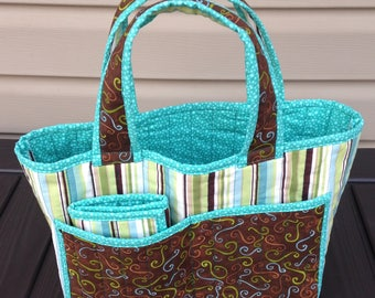 Quilted crochet caddy and matching tote bag, handmade