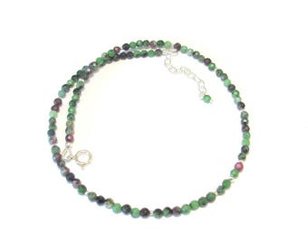 Necklace with natural stones and 925 Silver - Zoisite