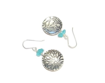 Earrings ethnic blue Apatite and sterling silver
