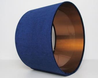 Navy Blue and Brushed Copper Velvet Lampshade