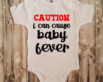 Caution I Cause Baby Fever Bodysuit - Baby Shower Gift - Baby Bodysuit - Unisex Baby Clothing - Baby Fever Clothing - Caution Clothing