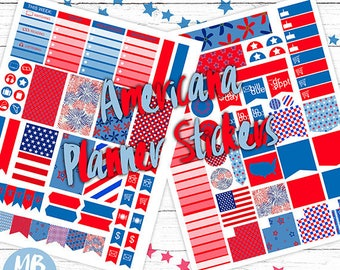 AMERICANA Planner Stickers, Printable Stickers, Weekly Stickers, Red White and Blue Planner Stickers,  INSTANT DOWNLOAD