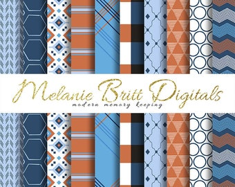 MASCULINE paper, dad paper, father paper, boyfriend paper, boy paper, masculine colors, blue and bronze, printable pdf, INSTANT DOWNLOAD