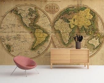 Vintage Map of the World - World Map - Wallpaper - Wall Mural - world map wall art - Adhesive Fabric - Peel And Stick - SKU:VMW