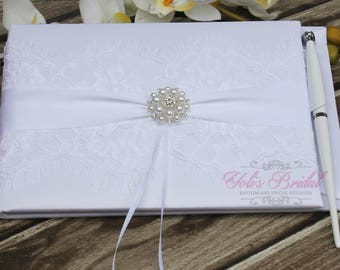 FAST SHIPPING!! Guest Book, White Guest Book, Lace Guest Book, Vintage Guest Book, Wedding Guest Book, Shabby Chic Guest Book, Romantic