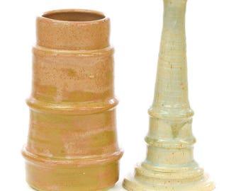 FREE SHIPPING - Pair of Ceramic Beige & Tan Studio Pottery Vases