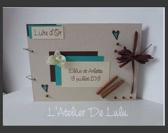 Guest book keepsake wedding cinnamon