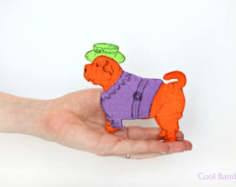 Shar Pei gifts, shar pei statue, felt dog toys, felt dog ornament, felt dog small, dress up doll, sharpei, chinese sharpei, dog miniature