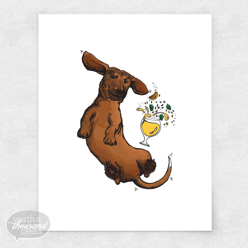 Dachshund Art Print, Wiener Dog Wall Art, Beer Bar Art, Brewery Art / 8x10  Print
