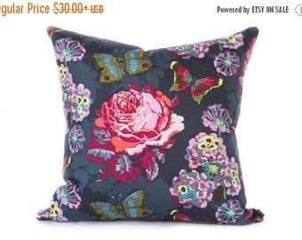 Sale Charcoal pillow cover - Floral Pink pillow - Butterfly pillow - Rose pillow - Gray Pink  pillow - Grey pillow - Decorative pillow