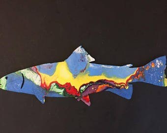 Hand Painted large metal trout yard art/garden decor.