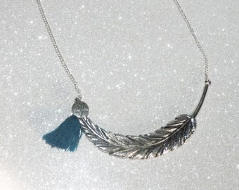 large feather silver bib necklace, Silver Star and peacock blue Pompom