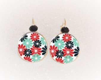 Earrings sleepers silver cabochon blue/red roses