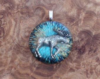 Blue Moose Totem Harmonized Crystal Ormus Orgone Energy Unisex Pendant Necklace 25mm Journey Grace Power Forest Swamp River Meadow Woods