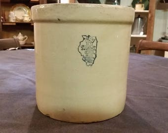 Antique Vintage White Hall S. P. & S. Stoneware Crock