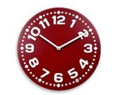 Wood wall clock. Colorful wall clock. Modern wall clock. Deep red wall clock. 11 inch diameter wall clock. CL4014