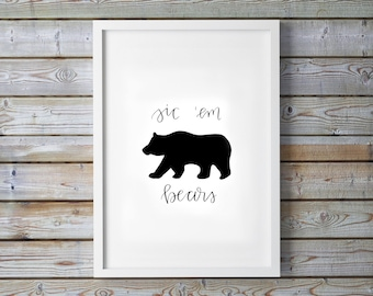 Sic Em Bears Print - Baylor University - BU - Golden Wave - Waco - Dorm Decor - Calligraphy - Digital Art - Instant Download - College