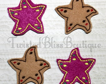Set Of 4 Starfish Felties