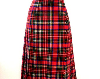 Vintage RED Plaid Kilt Skirt made in Italy - Red Plaid Flannel Wrap Skirt - 90s Grunge Hipster Pleated Plaid Skirt - Size Large estimated