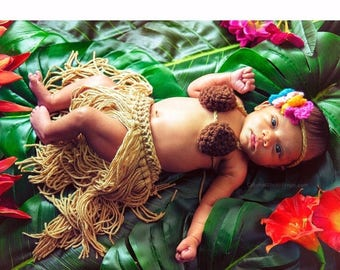 SALE Hula photo prop~Luau Grass skirt,coconut bra top,& lei/headband-Szs Newborn up to 4T-crocheted costume FREE Shipping Ready to Ship in 3