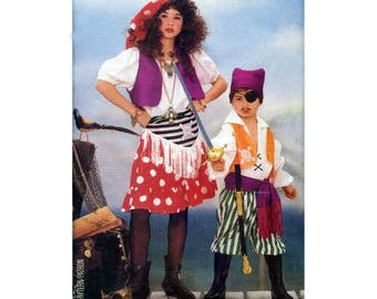 Boys' and Girls' Pirate, Gypsy Halloween Costume Sewing Pattern Children's Size 2, 3, 4, 5, 6, 6X, 7, 8, 10, 12, 14 Uncut Butterick 6730