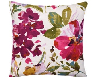 SALE Floral Pillow Cover, Colorful Floral Pillow, Decorative Pillow, Colorful Floral Pillow Cover, Double Sided Watercolor Floral Pillow