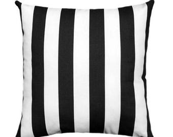 SALE Black and White Stripe Pillow Covers, 18 x 18, 20 x 20 Pillow Covers, Black White Throw Pillows, Black Striped Pillow with Zipper Closu