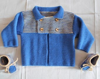 Jersey, vest, cardigan, blue, and booties hand knitted baby