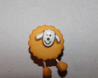 fancy yellow sheep animal button