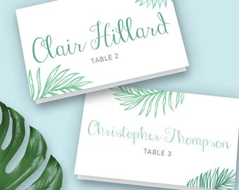 Palm Leaf, Wedding Place Cards, Printable Place Cards, Place Card Template, Place Card, Beach Weddings,  Destination Wedding, Tropical Leaf