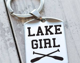 Lake Girl Personalized Engraved Key Chain