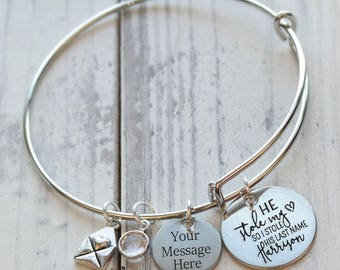 He Stole My Heart so I Stole His Last Name Wire Adjustable Bangle Bracelet